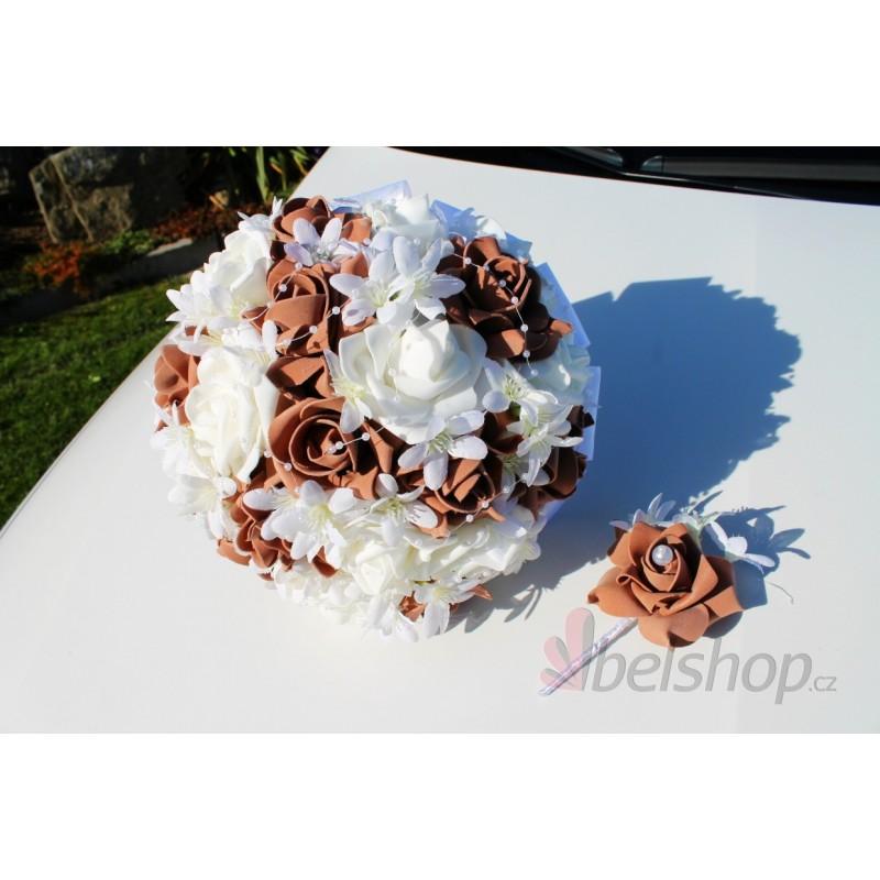 Svatební kytice vč. korsáže - hnědá