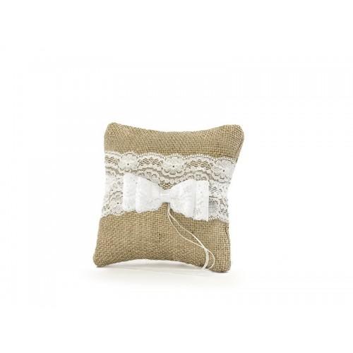 Jutový polštářek pod prstýnky s mašlí 16x16 cm