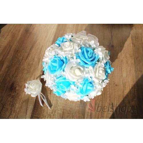 Svatební kytice sv. modrá vč. korsáže