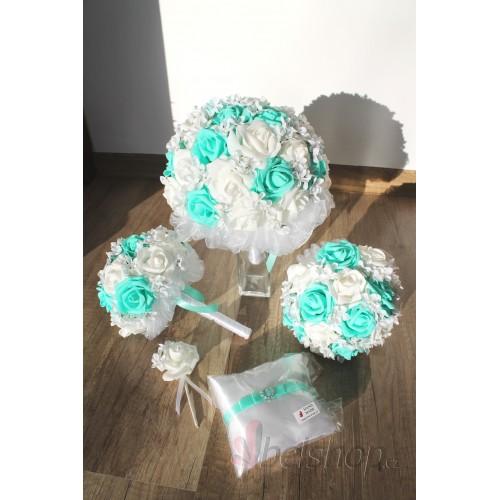 Set svatebních kytic v mentolové