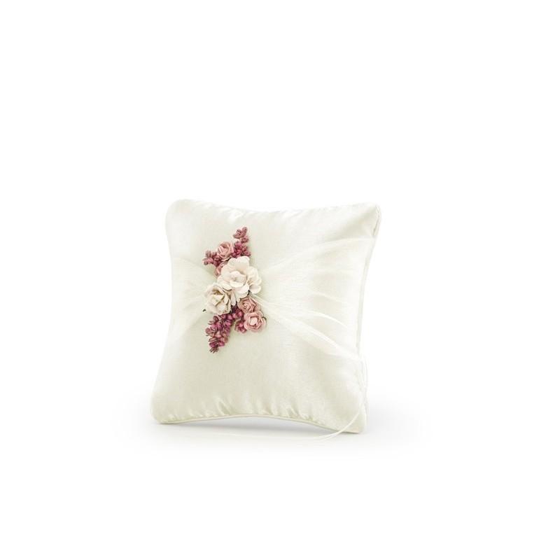 Saténový polštářek pod prstýnky s květy 16x16 cm