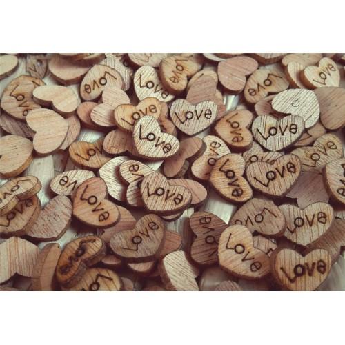 Dřevěná srdíčka LOVE 100ks