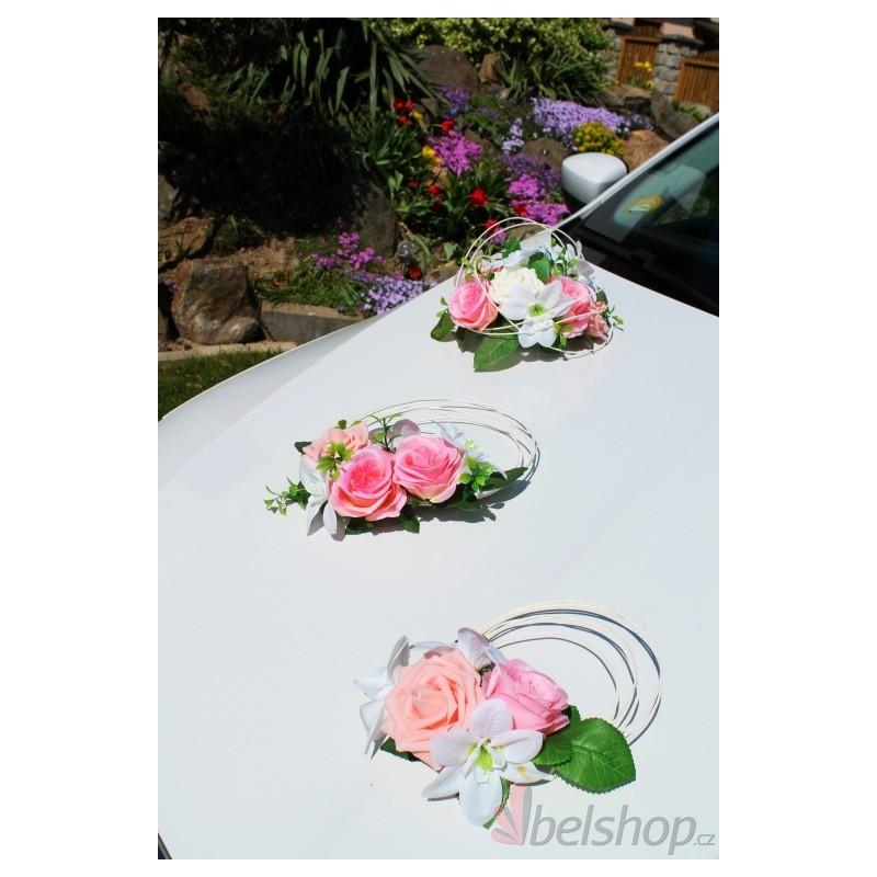 Dekorace aut růžový set