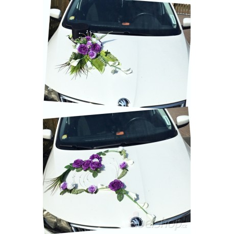 Set dekorací aut velký - fialová
