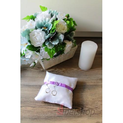 Polštářek pod prstýnky stuha lila