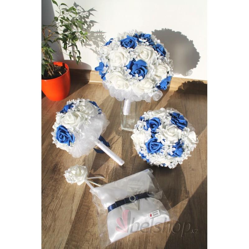 Svatební kytice vč. korsáže - král. modrá