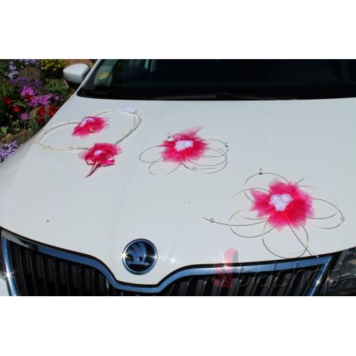 Set dekorací na auto fuchsiový