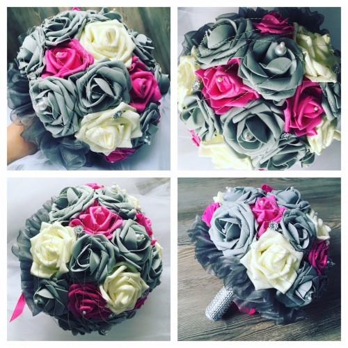 Netradiční svatební kytice šedá-fuchsie