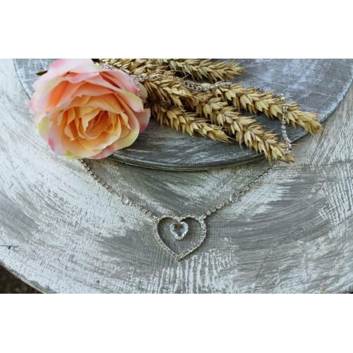 Štrasový náhrdelník - srdíčko