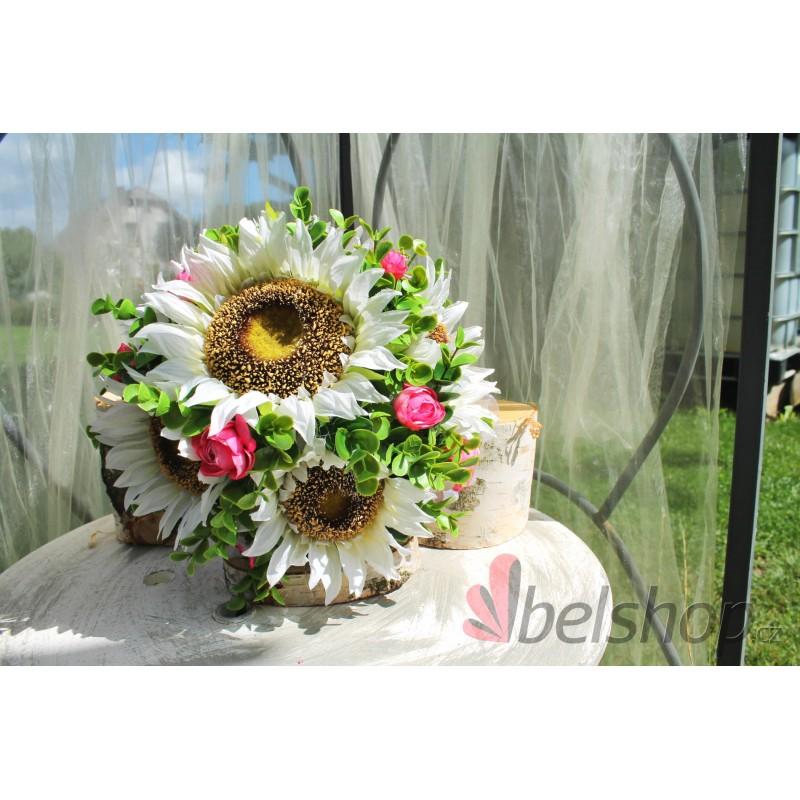 Svatební kytice z bílých slunečnic