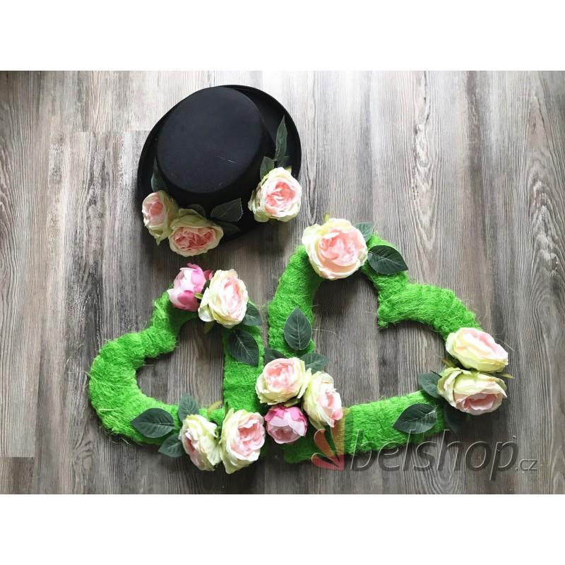 Set dekorací na auto zeleno-růžový