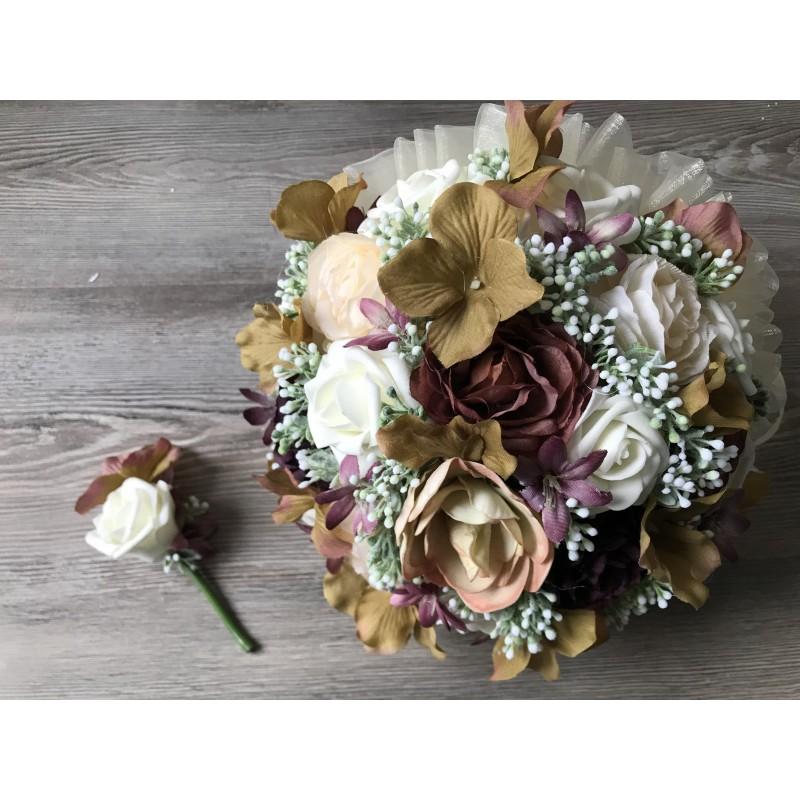 Svatební kytice krémovo-hnědá