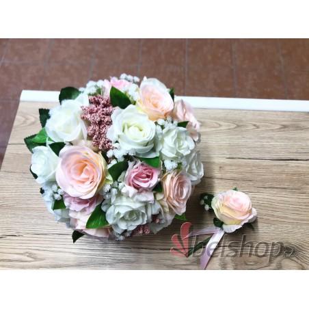 Svatební kytice růžové odstíny