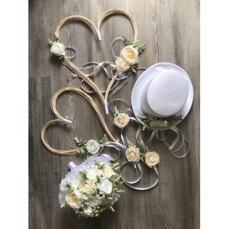 Látková krémovo-bílá svatební kytice v setu (7ks)