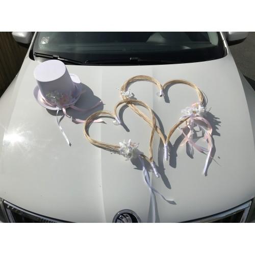 Set na auto 2x srdce + cylindr růžová