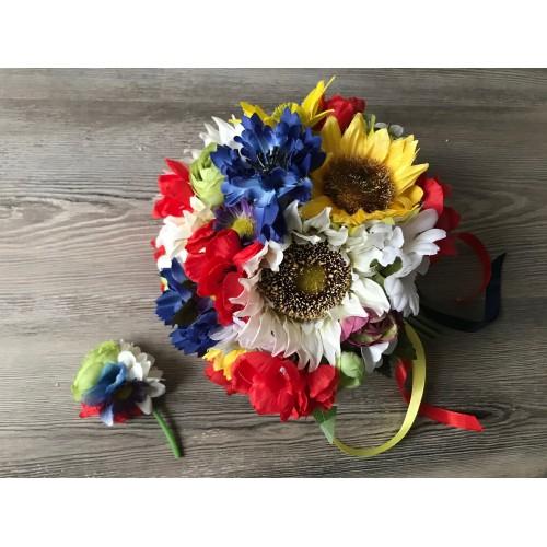 Folklórní svatební kytice vč. korsáže