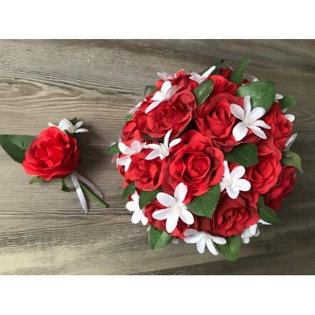 Svatební kytice z červených růží vč. korsáže