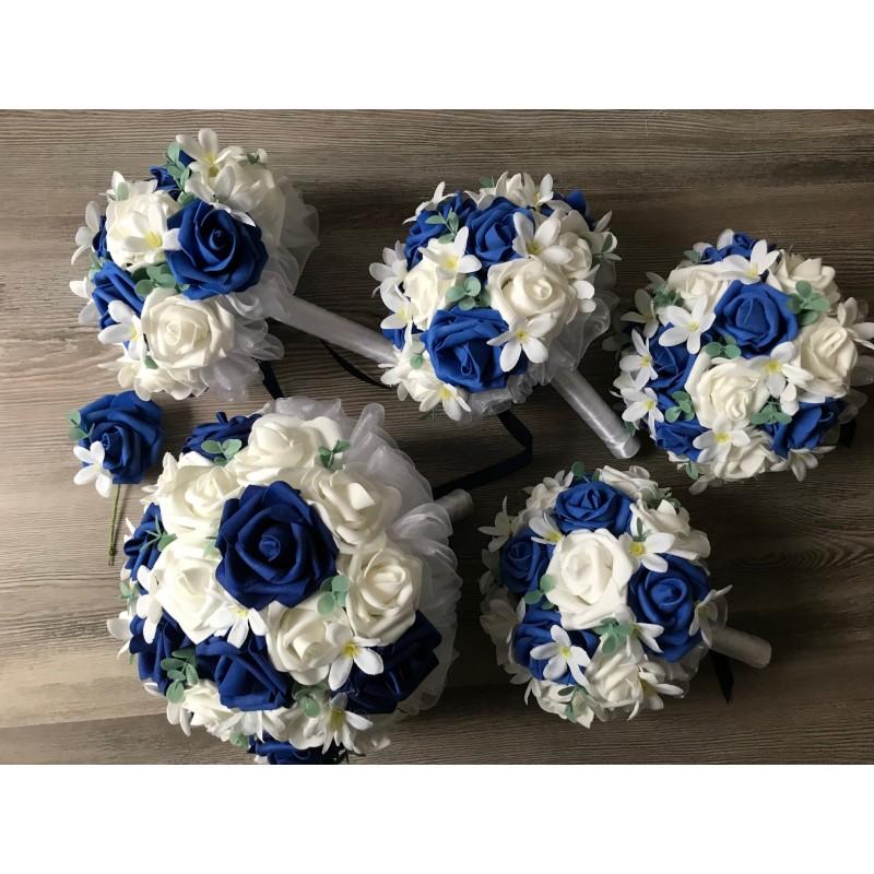 Svatební set kytic král. modrá/bílá