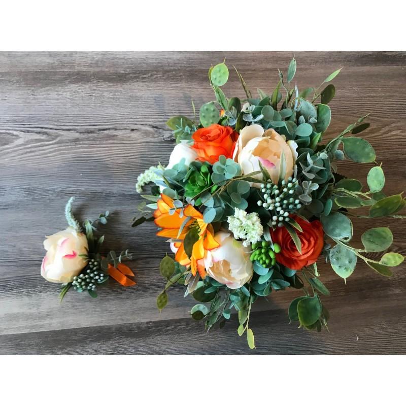 Boho svatební kytice v podzimních oranžových tónech vč. korsáže