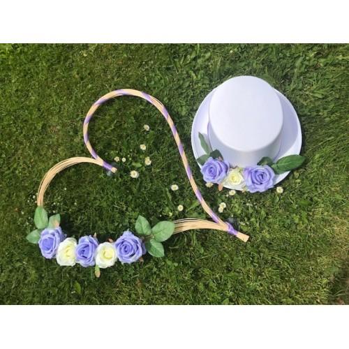 Set svatebních dekorací na auto - fialová lila