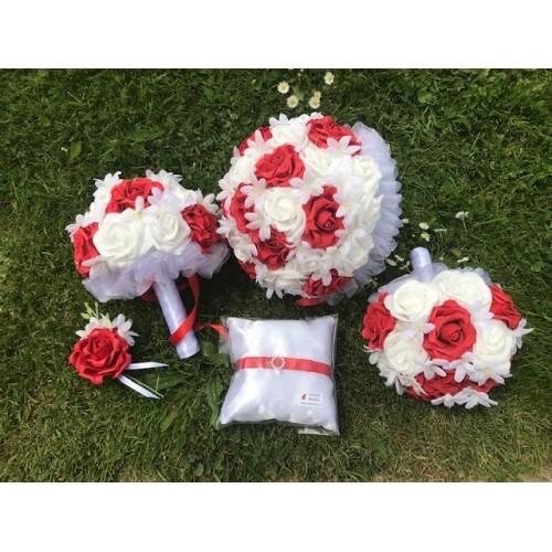 Svatební set kytic bílo-červená
