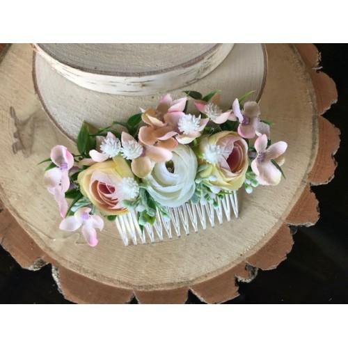Květinový hřebínek do vlasů meruňkový